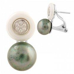 Серебряные серьги Алена с жемчугом, белой керамикой и фианитами