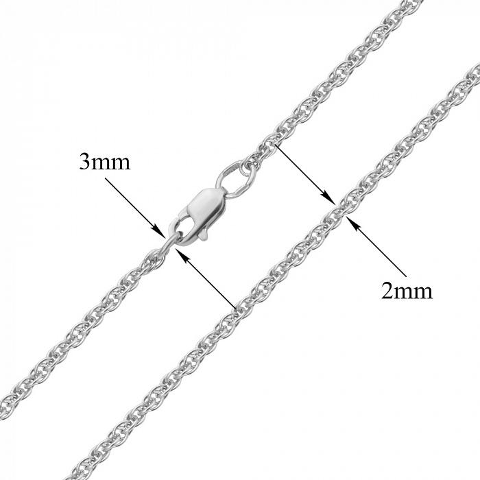 Серебряная родированная цепочка, 2мм 000019521 011552р