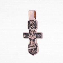 Крест из красного золота Серафим Саровский с чернением
