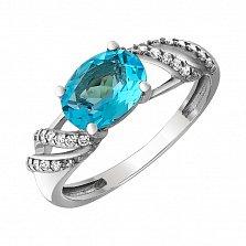 Серебряное кольцо Мирабелла с голубым кварцем и фианитами