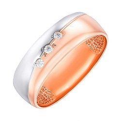 Золотое обручальное кольцо в комбинированном цвете с бриллиантами 000007244