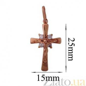 Золотой крест с фианитами Светлый покровитель ONX--п01314