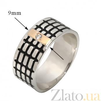 Серебряное кольцо Бродвей с золотой накладкой, эмалью и фианитом BGS--674/к б