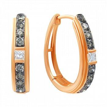 Золотые серьги-конго в комбинированном цвете с бриллиантами 000139372