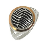Серебряное кольцо с золотой вставкой Опиум