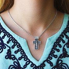 Крестик из серебра с чернением Преклонение