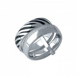 Серебряное тройное кольцо Сафари: Шокированная зебра с черной эмалью и дорожкой белых фианитов