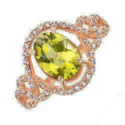 Кольцо из красного золота с хризолитом и фианитами 000133278