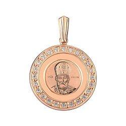 Ладанка из красного золота Святой Николай Чудотворец с цирконием 000141705