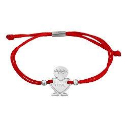 Шелковый браслет со вставкой Мальчик Love
