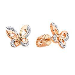 Золотые серьги-пуссеты Бабочки с фианитами