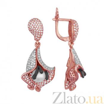 Серьги из красного золота с жемчугом и цирконием Колокольчики VLT--ТТ292-2