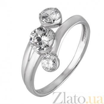 Серебряное кольцо с тремя фианитами HUF--14550-Р