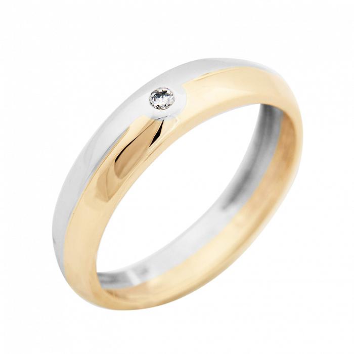 Золотое обручальное кольцо Сан-Ремо в комбинированном цвете с бриллиантом VLA--14370
