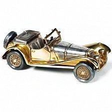 Серебряная визитница Автомобиль ретро с позолотой