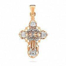 Золотой крестик Сердце Господа