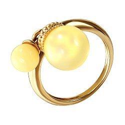 Серебряное кольцо в позолоте с лимонным янтарем 000099731