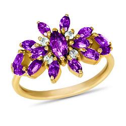 Золотое кольцо Батерфляй в желтом цвете с синтезированными аметистами и белыми фианитами