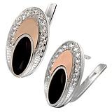 Серебряные серьги с черным ониксом и золотыми вставками Эдем