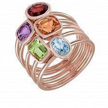 Золотое кольцо с перидотом, топазом, цитрином, аметистом и гранатом Радуга