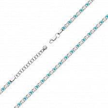 Серебряный браслет Дженифер с голубыми и белыми фианитами