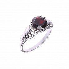 Серебряное кольцо Ванесси с крученой шинкой и гранатом