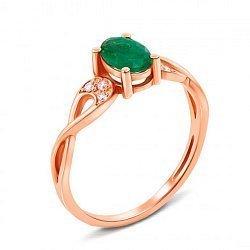 Кольцо из красного золота с изумрудом и бриллиантами 000124889