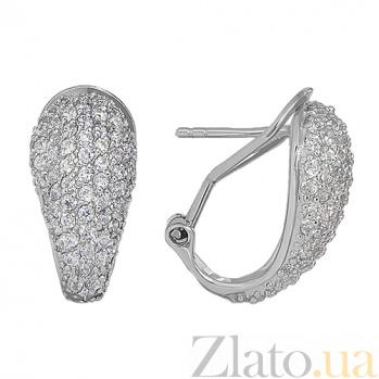 Серебряные серьги с кристаллами Swarovski Нимфа 10030080