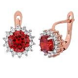 Позолоченные серебряные сережки с красным цирконием Джаухар