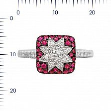 Кольцо из белого золота Звезда эльфов с рубинами и бриллиантами