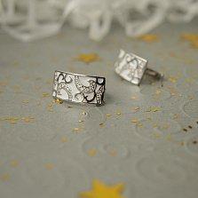 Серебряные серьги Метрика с белой эмалью и фианитами