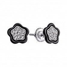 Серебряные серьги с черной керамикой и фианитами Аниела