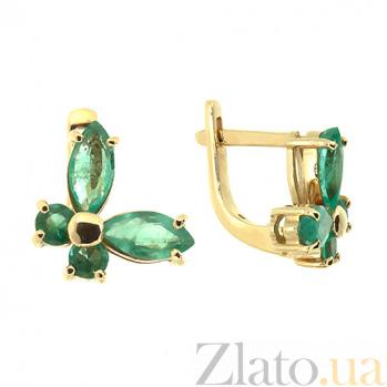 Золотые серьги с и изумрудами Изабелла 000021856