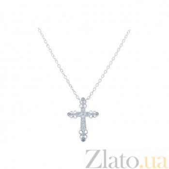 Серебряный крест с цирконами на цепочке Яркий оберег AQA--SK-FB036