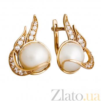 Золотые серьги с жемчугом и цирконием Венера 000029979
