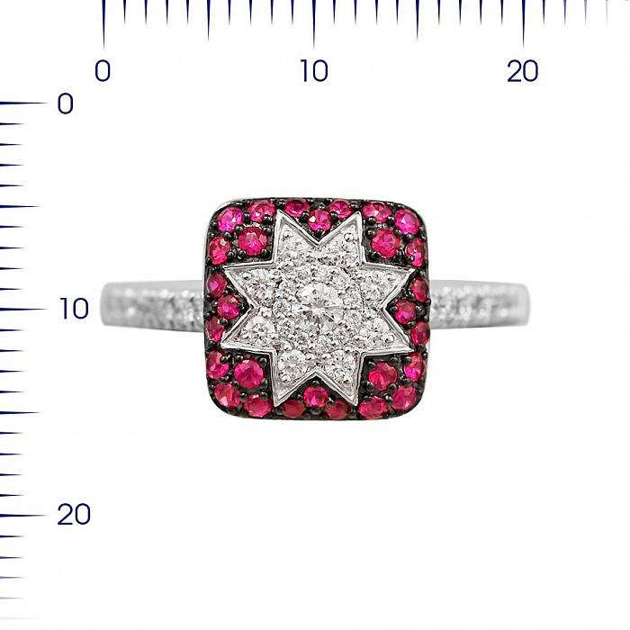 Кольцо из белого золота Звезда эльфов с рубинами и бриллиантами 000081018