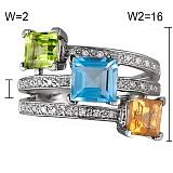 Золотое кольцо Загадки принцесс с цитрином, хризолитом, голубым топазом и бриллиантами