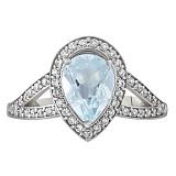 Золотое кольцо Шенбрунн с голубым топазом и фианитами