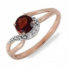 Золотое кольцо Испания с гранатом и бриллиантами