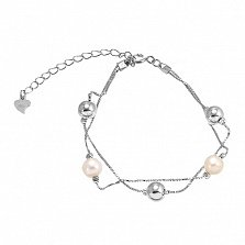 Серебряный браслет с жемчугом Valentine