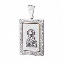 Серебряная ладанка Николай Чудотворец с белым перламутром