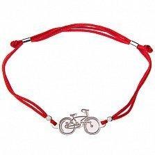 Шёлковый браслет с серебряной вставкой Велосипед