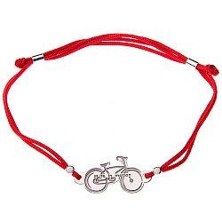 Шелковый браслет с серебряной вставкой Велосипед 000052064