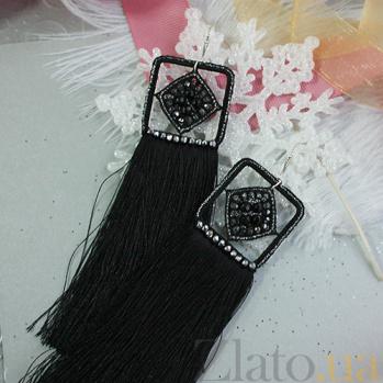 Серьги-кисточки Нуар из шелковых нитей с кварцем и кристаллами Swarovski 000059251