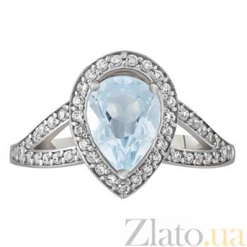 Золотое кольцо Шенбрунн с голубым топазом и фианитами SVA--1195642/Топаз голубой
