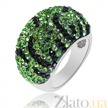 Серебряное кольцо с зелеными кристаллами Swarovski Королева ночи 10000044