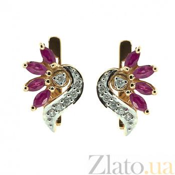 Золотые серьги с бриллиантами и рубинами Алиша ZMX--ER-6128_K