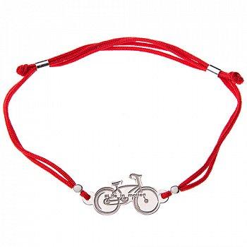 Шовковий браслет із срібною вставкою Велосипед 000052064