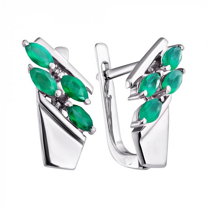 Серебряные серьги Лиллак с зеленым агатом 000067514