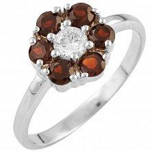 Серебряное кольцо Мальва с гранатом и фианитами
